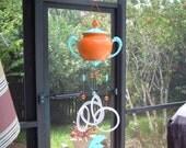 Sugar- Dolphins- windchime- wind chime- glass wind chime- grey goose- vodka- yard art- garden art- patio decor- vintage- vintage sugar bowl