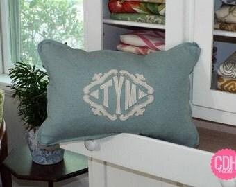 The Lisette Applique Framed Monogrammed Pillow Cover - Butterfly Flange - Lumbar Sizes