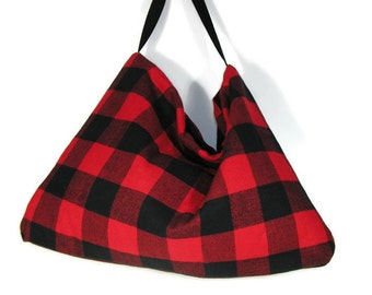 FREE SHIPPING Gift Buffalo Plaid Bags Buffalo Check Bags Buffalo Check Hobo Bag Red and Black Buffalo Check Flannel Hobo Bag Travel Bag