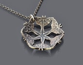 Sterling Silver Luna Moth Blossom Necklace - Seed Pod Necklace