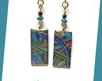 Striped Multicolor Earrings- polymer clay jewelry- Resin Earrings- Gifts for Her- Statement Earrings- Turquoise Earrings