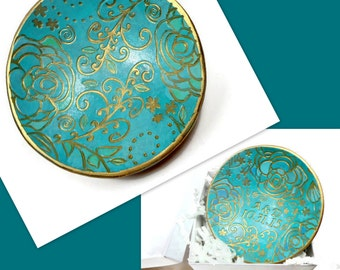 Turquoise Wedding Ring Dish- Handmade Ring Dish- polymer clay Bowl- Personalized Ring Holder- Engagement Ring Dish