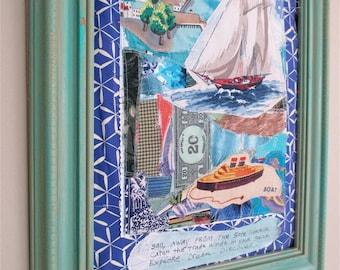 NAUTICAL SEA OCEAN +  Sewn Fabric Collage Art + Sailboat Sail Boat  + Coastal Living Chic +  mybonny cannon beach oregon