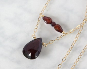 Garnet Necklace, Garnet Faceted Drop in Gold