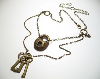 Brass Lock and Key Necklace - Polymer Clay Jewelry