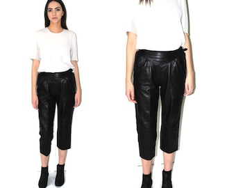 black leather culottes minimalist 80s vintage high waisted pleated trousers capris size 28 29