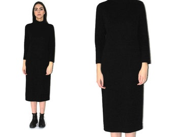 black turtle neck dress 80s 90s vintage MINIMALIST long jersey turtleneck midi dress os