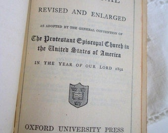 Hymnal Protestand Episcopal Church 1892 Small Religious Book