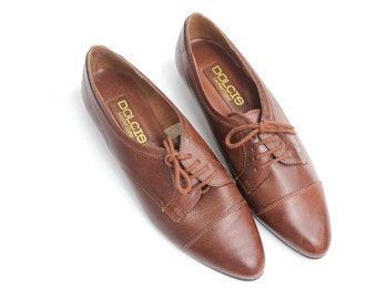 sz 9 | vintage brown leather oxfords | classic menswear brogues | near mint condition | 40
