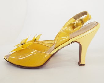 50s Clear Yellow Sling Back High Heel Shoes with Bows by Dominic Romano 10 S