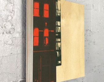 Art Block- Wall Decor- Home Decor- Red Fire Escape Urban Art On Wood
