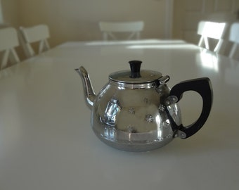 SALE - Vintage Teapot Festival of Britain 1951 Retro Metal Chrome Mid Century English Tea - EnglishPreserves