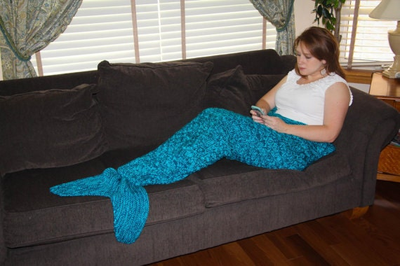 Knitting Pattern Mermaid Tail Blanket : Adult Mermaid Tail Blanket Knitting Pattern PDF 415a