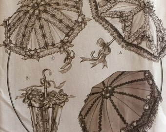 Vintage 1800s Lacy Making History Rachel Wallis Parasol Umbrella Steampunk Sewing Pattern Butterick 4955