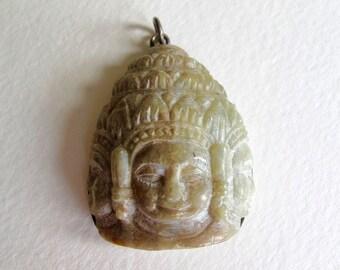 Carved Three Faces of Shiva Pendant agate stone Hindu boho