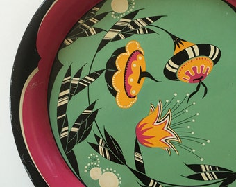 Vintage Tin Litho Serving Tray - 1920s 1930s flowers