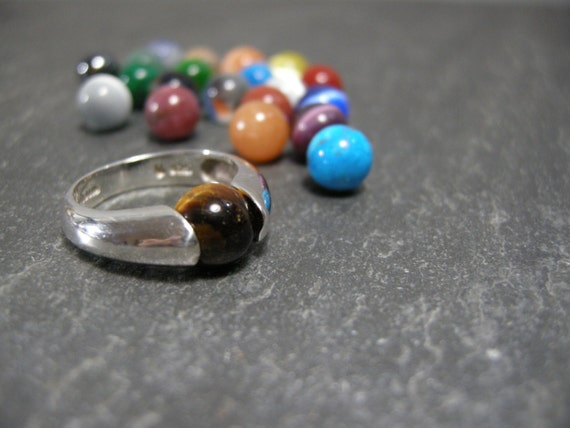 vintage sterling silver ring with 21 interchangeable stones