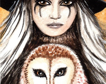 Owl Goddess Bloudeuwedd ACEO Print