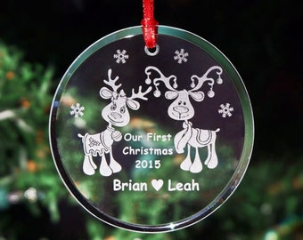 First Christmas Glass Wedding Ornament, Custom 1st Holiday Married Tree Decoration, Personalized Mr & Mrs Reindeer Anniversary Gift - ORN5