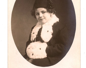 RPPC Young Girl Hat Fur Trimmed Coat and Fur Muff