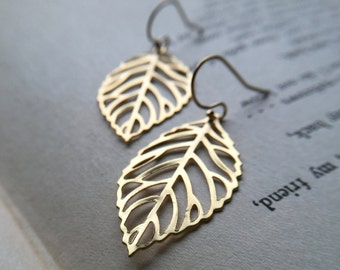 Statement Modern Minimal Geometric Filigree Leaf Gold Earrings, Gift for women, sister, mom, aunt, girlfriend, wife