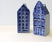 RESERVED for STELLA     Amsterdam Dutch Delft-style hand painted ceramic houses salt and pepper shakers.