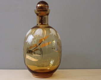 Vintage 1930s amber glass decanter with hand painted floral design.