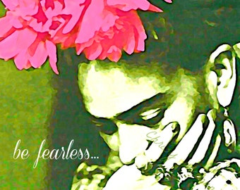 Frida Kahlo Art Instant Digital Download Be Fearless Frida Watercolor Print Mixed Media Original Photomontage Green w Pink Painting All Size