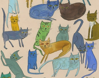 cats galore. Limited edition print of an original mixed media painting by Vivienne Strauss