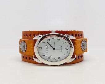 Women watch. leather cuff watch. cuff watch. steampunk watch.
