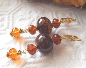 SALE.......One of a Kind 18K Gold Vermeil, Crystal and Gemstone Earrings