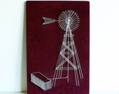Vintage Wire Nail Art - windmill - rural colorful - purple - string art