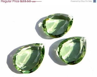 55% OFF SALE 3 Piece Set AAA Green Amethyst Quartz Faceted Mirror Cut Pear Briolettes Size 20x15mm Approx