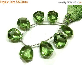 55% OFF SALE 7 Inches - High Quality AAA Green Amethyst Quartz Faceted Fancy Briolettes Size 18x14mm 8 Pcs 4 Matched pair