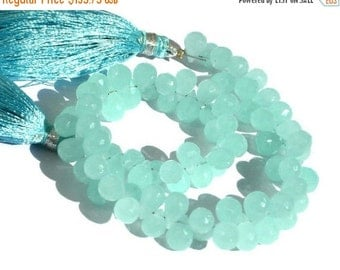 55% OFF SALE 28 Percent OFF Sale - 8 Inches 200 Ctw Aqua Chalcedony Faceted Drop Briolettes Large Size 10x7.5mm - 12x8mm approx Finest Quali