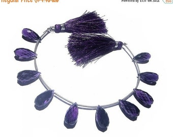 55% OFF SALE 7 Inches - Finest Quality AAA Amethyst Quartz Faceted Elongated Drop Briolettes 10 Pieces 5 Matched Pair