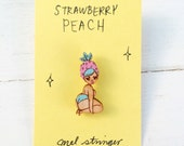 Strawberry Peach - handpainted cherry wood pin - 3cm