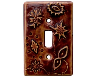 Jetsons Single Toggle Ceramic Light Switch Cover in Amber Rose Glaze