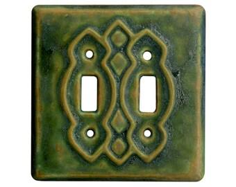 Moroccan Ceramic Light Switch Cover- double toggle in green ocher glaze