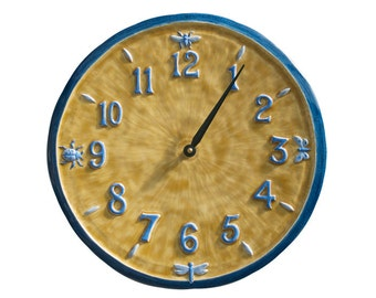 Ceramic Wall Clock- (13 inches in diameter) Little Wings Design in Blue and Yellow Glaze