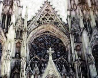 St. Patrick Cathedral in Manhattan  - Polaroid SX-70 Manipulation - 8x8 Fine Art Photograph, Wall Decor