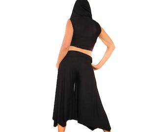 Stealth Ninja Capris - Black, High-Waisted, Wide Leg, Get Your Groove on Dance Pants