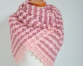 Lace crochet shawl, shades of pink,  P497