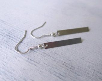 The Minimalist Earrings Boho Earrings Silver Rectangle Earrings Modern Earrings