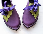 Handmade shoes, PYRAMUS, Fairytale Leaf Shoes by Fairysteps in Purples, greens, pinks, etc, pick a colour