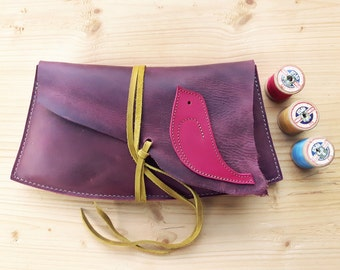 Fairytale woodland, Medium clutch Purse, Leather Bag ISOLDE 3129 plum, pink
