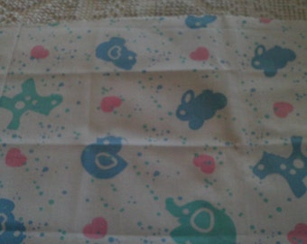 Childrens Quilt Fabric Pink Blue Green Animals on  White Background
