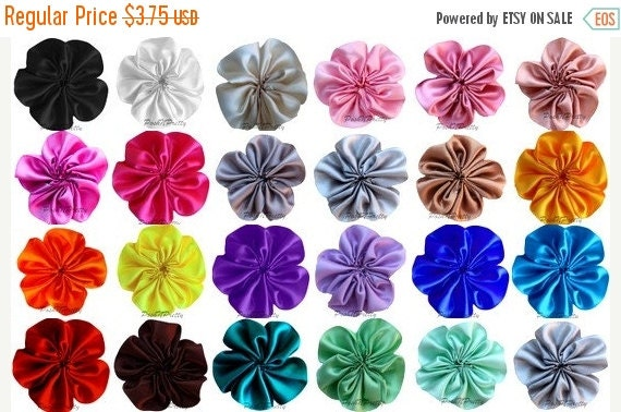 30% OFF SALE 12 PCS Cluster Satin Flowers - Loose- pick Colors