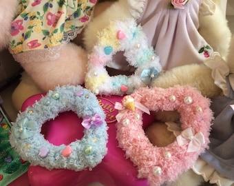 Fuzzy Hearts Fairy Kei Lolita Hair Clip Barrette