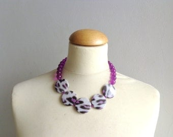 leopard necklace Purple statement necklace